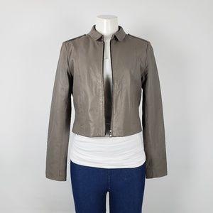 Teenflo Lambskin Leather Grey Jacket Size S